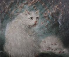 Perfect Oil painting carl kahler Hand painted mothers pride cats mother /& babies