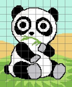 Cute Panda Crochet Graph Chart Pattern