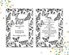 Pattern and Illustration by PinkPeaDesign Wedding Show, Rsvp, Butterflies, Wedding Invitations, Etsy Seller, Weddings, Digital, Unique, Illustration
