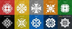 Free snowflake patterns inspired by Game of Thrones....For our apartment tree!