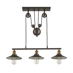 Vintage Barn Pendant Light Fixture 3 Lights, Metallic Gray/Antique Brass
