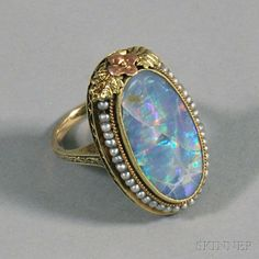 14kt Gold, Opal, and Seed Pearl Cocktail Ring
