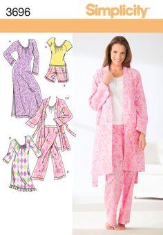 Pajama Pattern Top Bottom Robe Nightgown Misses Size XXS - XS - S - M uncut Simplicity 3696 by PrettyfulPatterns on Etsy Pajama Pattern, Top Pattern, Free Pattern, Pattern Shorts, Pattern Ideas, Sewing Crafts, Sewing Projects, Sewing Ideas, Sewing Tips