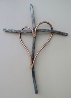 Heart & Soul Unique copper and Metal cross by GaryMoser metal art Heart & Soul. Unique copper and Metal cross Metal Projects, Welding Projects, Diy Welding, Blacksmith Projects, Wire Crafts, Metal Crafts, Decoration St Valentin, Wire Jewelry, Jewelery