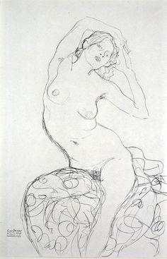 Gustav Klimt, Seated Nude [Fünfundzwanzig] (1919)