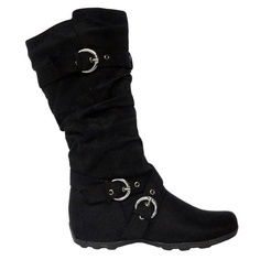 black flat slouch boot.