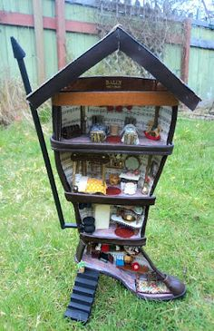 Leather Boot Turned Dollhouse With Furniture