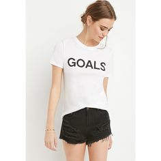 4dfa3e68d Forever 21 Goals Graphic Tee (€7,88) ❤ liked on Polyvore featuring