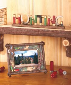 Show your love of hunting with this Shotgun Shell Home Decor. This rustic collection is ideal for a lodge-themed home or a vacation cabin. Shotgun shells and an