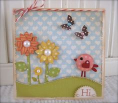 Spring Pink Bird  Flower HI Card by vsroses on Etsy, $3.25