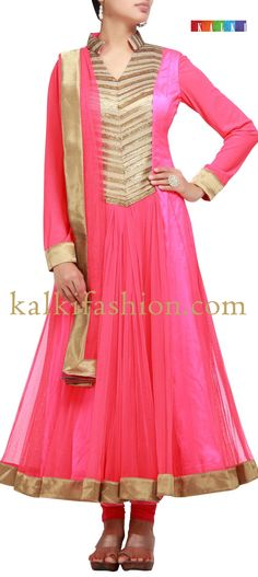 Buy it now  http://www.kalkifashion.com/pink-suit-with-zari-and-sequence-work.html  Pink suit with zari and sequence work