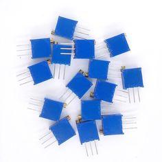 99006 15 valores 3296 W Kit 3296 W Multivuelta Potenciómetros trimmer ajustable Potenciómetro de precisión 3296 W Resistencias Variables