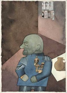"""George Grosz '""""The Convict"""": Monteur John Heartfield after Franz Jung's Attempt to Get Him Up on His Feet' 1920 watercolor, ink, pencil, and cut-and-pasted printed paper on paper x cm Painting Illustration, Dada Art, German Expressionism, Student Art, Degenerate Art, Moma, Painting, German Art, Art History"""