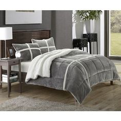 Chic Home Chiron Sherpa Lined Plush Microsuede 3-piece Comforter Set   Overstock.com Shopping - The Best Deals on Comforter Sets