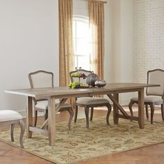 Birch Lane Draper Extending Dining Table  830 ish veneer but nice, sets 10 with leaf added, washy finish, X pattern on two symetrical sides of top