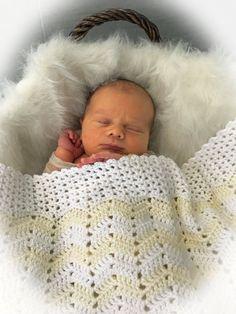 Crochet Baby Blanket Pattern -  Easy Ripple Baby Blanket - Baby Chevron Blanket - Little Ripple - Pattern by Deborah O'Leary Patterns