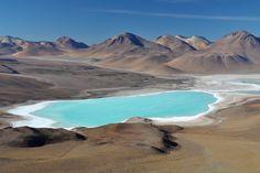 Laguna Verde, Blick von inaktivem Vulkan Licancabur/ Grenze Chile- Bolivien