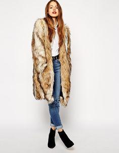 ASOS - Manteau long en fausse fourrure style vintage