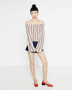 Image 1 of OFF-THE-SHOULDER STRIPED TOP from Zara