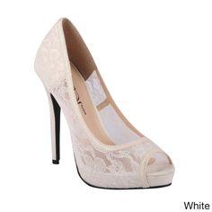 Wildrose Women's 'Lorena-01' Lace Mesh Peep-toe Pumps - Overstock™ Shopping - Great Deals on Heels