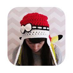 crochet pattern - The Original pokemon pokeball inspired earflap slouchy beanie… Crochet Round, Cute Crochet, Crochet Crafts, Crochet Projects, Knit Crochet, Pokemon Hat, Crochet Pokemon, Pokemon Stuff, Crochet Beanie Hat