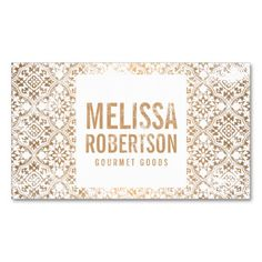 Hand-Stamped Copper and White Vintage Pattern Business Card Templates