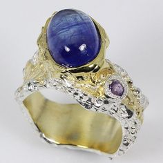 Handmade Fine Art Natural Blue Sapphire 925 Sterling Silver Ring Size 7.5/R33715 #APBJewelry #Ring