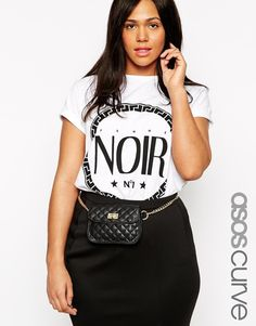 ASOS CURVE Chain Waist Belt With Quilted Festival Purse -$41.28