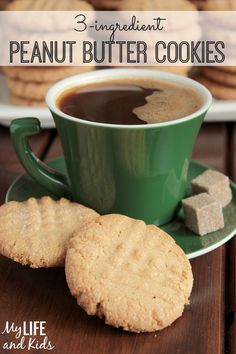 This simple peanut butter cookie recipe is only 3 ingredients, no flour! Gluten free, dairy free dessert recipe.