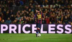 Lionel Messi of Barcelona runs with the ball during the UEFA Champions League Round of 16 second leg match between Barcelona and Manchester City at Camp Nou on March 18, 2015 in Barcelona, Catalonia.