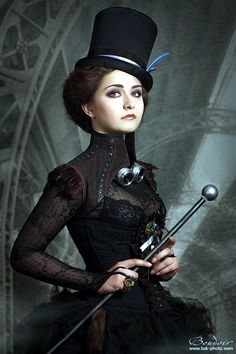 pelennanor:  A very smart Steampunk Lady complete with cane.