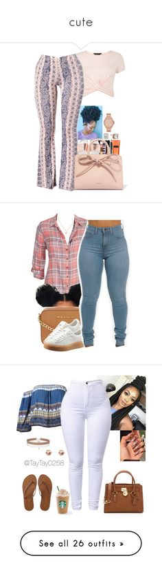 """""""cute"""" by demford ❤ liked on Polyvore featuring New Look, Gypsy Soul, Charlotte Russe, Victoria's Secret, NYX, Mansur Gavriel, Anne Klein, FOSSIL, maurices and Michael Kors"""