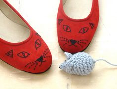 Red Cat Face Shoes via Etsy. I ordered the black and red ones and can't wait to get them!
