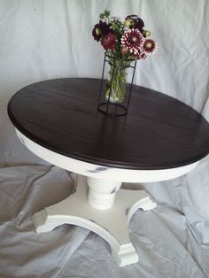 DIY White Round Pedestal Table With Minwax Stained Top Using With Old White,  Distressed,
