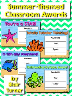 Summer-Themed Classroom Awards FREEBIE