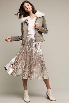 adbed600bc Slide View: 1: Eclat Midi Skirt Metallic Skirt, Silver Skirt, Midi Skirt