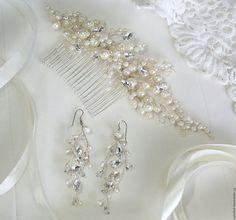 Купить жемчужный блеск - белый, украшение для волос, украшение для невесты, свадебное украшение, гребень для волос