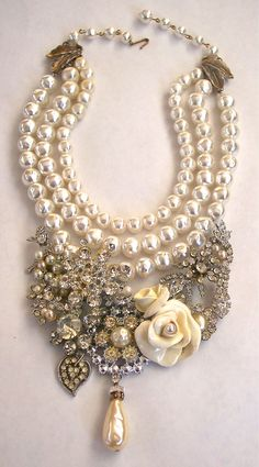 Vintage Rhinestone & Pearl Necklace~Second Look Jewelry, Etsy