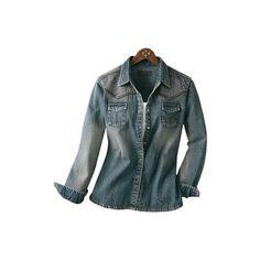 Cabela's Women's Long-Sleeve Denim Shirt ($20) found on Polyvore