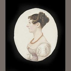 English School (early 19th Century)  A Lady, profile to the left, wearing pale lilac dress with white sleeves and coral necklace