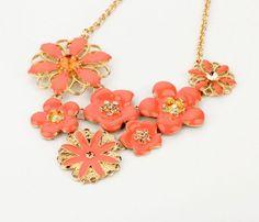 NEW Cluster Peach Enamel Flower Statement Necklace Gold Tone Chain Bib Pendant #JewelStorie #StatementClusterPendant