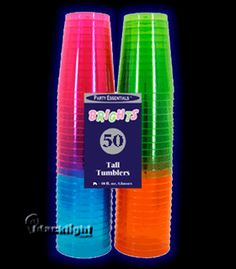 Assorted Neon Blacklight Reactive 10 Ounce Party Cups - 50 count