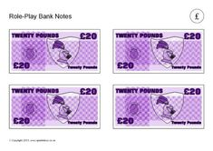 A set of printable bank notes for use in role-play situations. The bank notes have generic designs but use the pound currency. Role Play Situations, Race Around The World, Free Teaching Resources, Moorish, Dollhouse Miniatures, Notes, Preschool, English, Report Cards