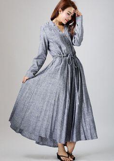 gray linen dress woman causal dress long sleeve dress by xiaolizi
