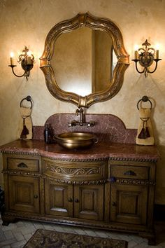 Tuscan design – Mediterranean Home Decor Tuscan Bathroom Decor, Diy Bathroom Vanity, Diy Vanity, Bathroom Ideas, Bathroom Cabinets, Bath Ideas, Bathroom Remodeling, Tuscan Bedroom, Bath Decor