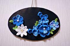 お花のミニプレート飾り(ブルー系)つまみ細工 2x
