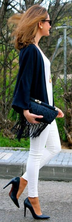 Oh My Looks Shop Navy Fringe Jacket by Oh my Looks