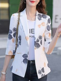 Temperament printed cropped sleeve Blazer , Buy Affordable And Fashionable Women's clothing Online. Buy Shoes, Bags, Dresses Etc. Blazer And Shorts, Striped Blazer, Blazer Outfits, Blazer Fashion, Fashion Outfits, Cropped Blazer, Blazer Dress, Women's Shorts, Collar Dress