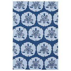 'Luau' Blue Sand Dollar Print Indoor/ Outdoor Rug (7'6 x 9') - Overstock™ Shopping - Great Deals on 7x9 - 10x14 Rugs