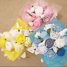 One of the rarest photos that I've taken Not the best one though. Baby Clothes Bouquet in the three colours all in one frame. #babygifts #babygiftsets #babyshower  #etsy #etsysuccess #etsysellers #etsytribe #etsygifts #etsybestsellers #handmadelove